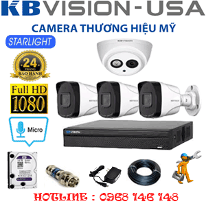 TRỌN BỘ 4 CAMERA KBVISION 2.0MP (KB-21738)-KB-21738