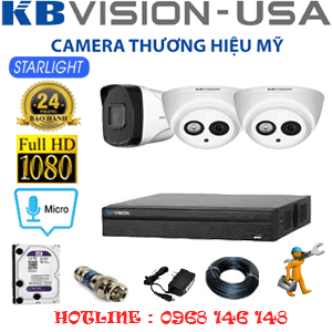 TRỌN BỘ 3 CAMERA KBVISION 2.0MP (KB-22718)-KB-22718