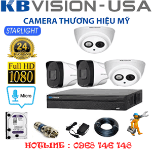 TRỌN BỘ 4 CAMERA KBVISION 2.0MP (KB-22728)-KB-22728