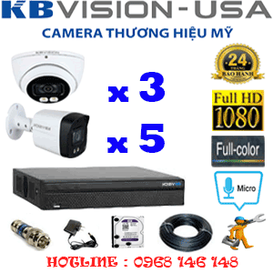 TRỌN BỘ 8 CAMERA KBVISION 2.0MP (KB-2315516)-KB-2315516