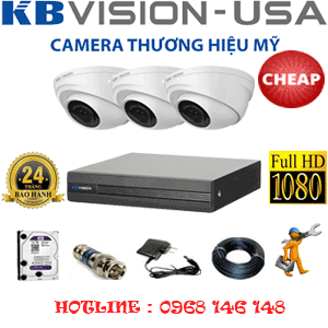 TRỌN BỘ 3 CAMERA KBVISON 2.0MP (KB-23300)-KB-23300C