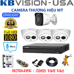 Lắp Đặt Trọn Bộ 4 Camera Kbvision 2.0Mp (Kb-23718)-KB-23718