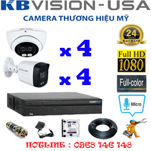 TRỌN BỘ 8 CAMERA KBVISION 2.0MP (KB-2415416)-KB-2415416