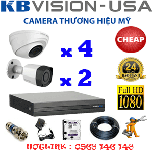 TRỌN BỘ 6 CAMERA KBVISION 2.0MP (KB-24324)-KB-24324C
