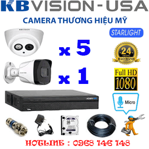 TRỌN BỘ 6 CAMERA KBVISION 2.0MP (KB-25718)-KB-25718
