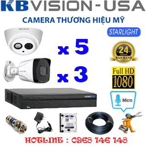 TRỌN BỘ 8 CAMERA KBVISION 2.0MP (KB-25738)-KB-25738