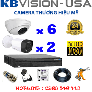 TRỌN BỘ 8 CAMERA KBVISON 2.0MP (KB-2611212)-KB-2611212