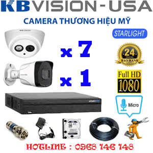 TRỌN BỘ 8 CAMERA KBVISION 2.0MP (KB-27718)-KB-27718