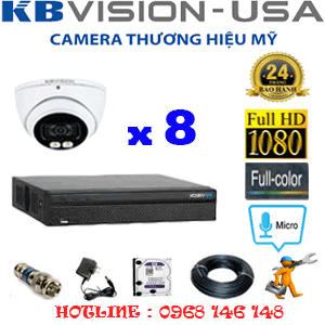 TRỌN BỘ 8 CAMERA KBVISION 2.0MP (KB-281500)-KB-281500