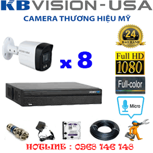 TRỌN BỘ 8 CAMERA KBVISION 2.0MP (KB-281600)-KB-281600