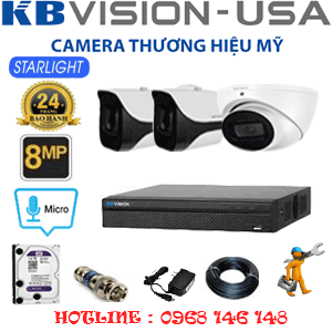 TRỌN BỘ 3 CAMERA KBVISON 8.0MP (KB-8113214)-KB-8113214