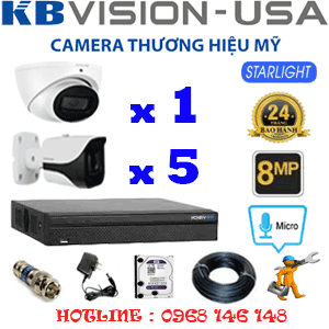 TRỌN BỘ 6 CAMERA KBVISON 8.0MP (KB-8113514)-KB-8113514