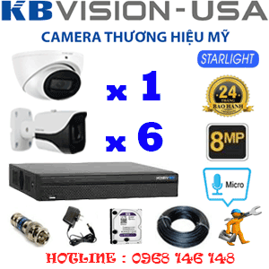 TRỌN BỘ 7 CAMERA KBVISON 8.0MP (KB-8113614)-KB-8113614