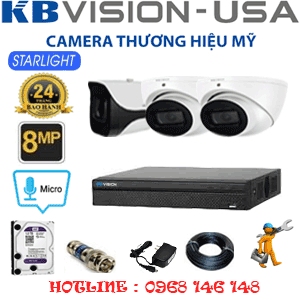 TRỌN BỘ 3 CAMERA KBVISON 8.0MP (KB-8213114)-KB-8213114