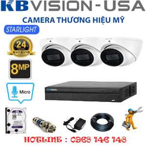 TRỌN BỘ 3 CAMERA KBVISON 8.0MP (KB-831300)-KB-831300