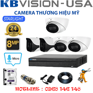 TRỌN BỘ 5 CAMERA KBVISON 8.0MP (KB-8313214)-KB-8313214