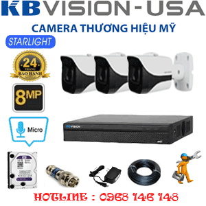 TRỌN BỘ 3 CAMERA KBVISON 8.0MP (KB-831400)-KB-831400