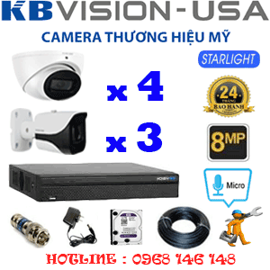 TRỌN BỘ 7 CAMERA KBVISON 8.0MP (KB-8413314)-KB-8413314