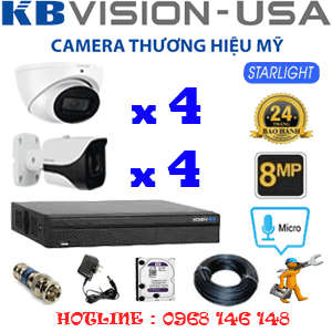 TRỌN BỘ 8 CAMERA KBVISON 8.0MP (KB-8413414)-KB-8413414