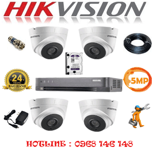 Lắp Đặt Trọn Bộ 4 Camera Hikvision 5.0Mp (Hik-543300)-HIK-543300