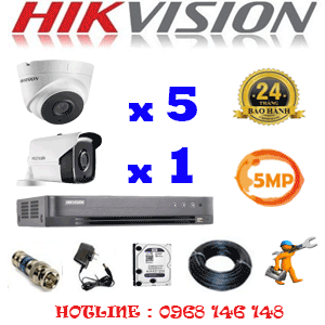 Lắp Đặt Trọn Bộ 6 Camera Hikvision 5.0Mp (Hik-5533134)-HIK-5533134