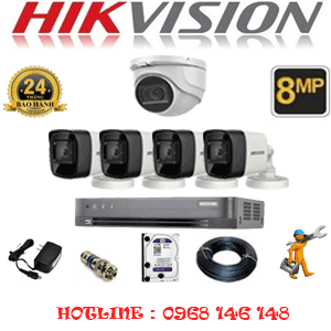 Lắp Đặt Trọn Bộ 5 Camera Hikvision 8.0Mp (Hik-8129430)-HIK-8129430