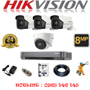 Lắp Đặt Trọn Bộ 4 Camera Hikvision 8.0Mp (Hik-8137338)-HIK-8137338