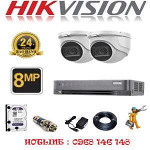 Lắp Đặt Trọn Bộ 2 Camera Hikvision 8.0Mp (Hik-822900)-HIK-822900