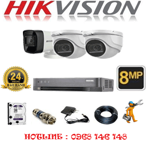 Lắp Đặt Trọn Bộ 3 Camera Hikvision 8.0Mp (Hik-8229130)-HIK-8229130