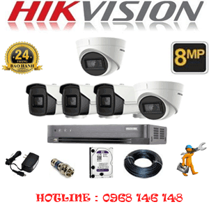 Lắp Đặt Trọn Bộ 5 Camera Hikvision 8.0Mp (Hik-8237338)-HIK-8237338