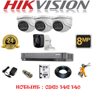 Lắp Đặt Trọn Bộ 4 Camera Hikvision 8.0Mp (Hik-8329130)-HIK-8329130