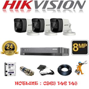 Lắp Đặt Trọn Bộ 3 Camera Hikvision 8.0Mp (Hik-833000)-HIK-833000