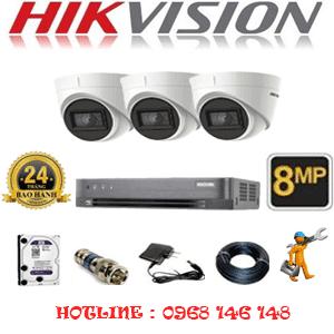 Lắp Đặt Trọn Bộ 3 Camera Hikvision 8.0Mp (Hik-833700)-HIK-833700