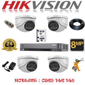 Lắp Đặt Trọn Bộ 4 Camera Hikvision 8.0Mp (Hik-842900)-HIK-842900