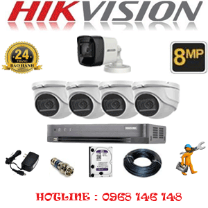 Lắp Đặt Trọn Bộ 5 Camera Hikvision 8.0Mp (Hik-8429130)-HIK-8429130