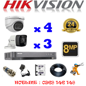 Lắp Đặt Trọn Bộ 7 Camera Hikvision 8.0Mp (Hik-8429330)-HIK-8429330