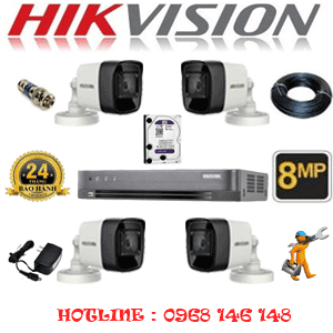 Lắp Đặt Trọn Bộ 4 Camera Hikvision 8.0Mp (Hik-843000)-HIK-843000