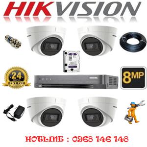 Lắp Đặt Trọn Bộ 4 Camera Hikvision 8.0Mp (Hik-843700)-HIK-843700