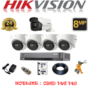 Lắp Đặt Trọn Bộ 5 Camera Hikvision 8.0Mp (Hik-8437138)-HIK-8437138