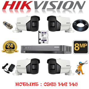 Lắp Đặt Trọn Bộ 4 Camera Hikvision 8.0Mp (Hik-843800)-HIK-843800