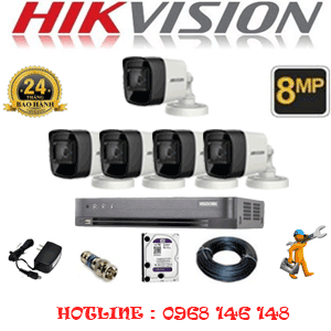 Lắp Đặt Trọn Bộ 5 Camera Hikvision 8.0Mp (Hik-853000)-HIK-853000