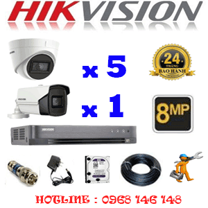 Lắp Đặt Trọn Bộ 6 Camera Hikvision 8.0Mp (Hik-8537138)-HIK-8537138