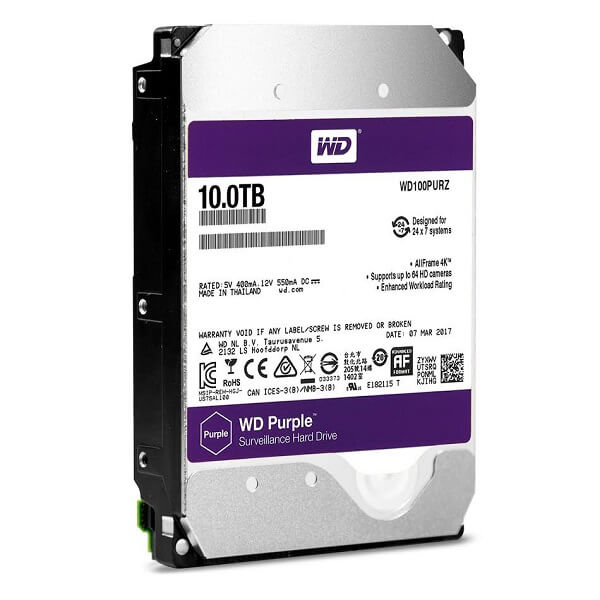 Ổ Cứng Hdd Western Digital Purple 10Tb 3.5″ Sata 3 – Wd100Purz-Ổ cứng HDD Camera WD Purple 10TB Sata3 7200rpm (Wd100Purx)
