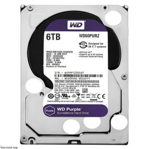 Ổ Cứng Hdd Western Digital Purple 6Tb 3.5″ Sata 3 – Wd60Purz-Ổ cứng HDD Camera WD Purple 6TB Sata3 5400rpm (WD60PURZ)