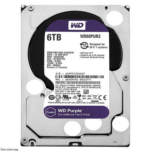 Ổ Cứng Hdd Western Digital Purple 6Tb 3.5″ Sata 3 – Wd60Purz-Ổ cứng HDD Camera WD Purple 6TB Sata3 5400rpm (WD60PURZ)
