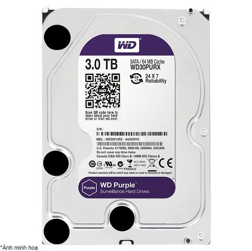 Ổ Cứng Hdd Western Digital Purple 3Tb 3.5″ Sata 3 – Wd30Purz-HDD Camera WD Purple 3TB Sata3 5400rpm (WD30PURZ)
