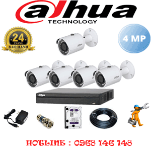 Lắp Đặt Trọn Bộ 5 Camera Dahua 4.0Mp (Dah-452400)-DAH-452400