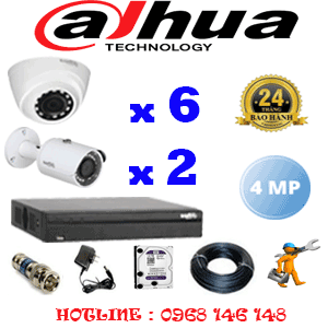 Lắp Đặt Trọn Bộ 8 Camera Dahua 4.0Mp (Dah-4623224)-DAH-4623224