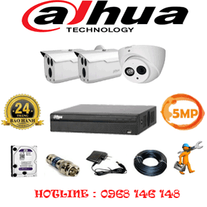 Lắp Đặt Trọn Bộ 3 Camera Dahua 5.0Mp (Dah-5129230)-DAH-5129230