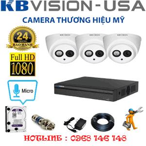 Lắp Đặt Trọn Bộ 3 Camera Kbvision 2.0Mp (Kb-231700)-KB-231700